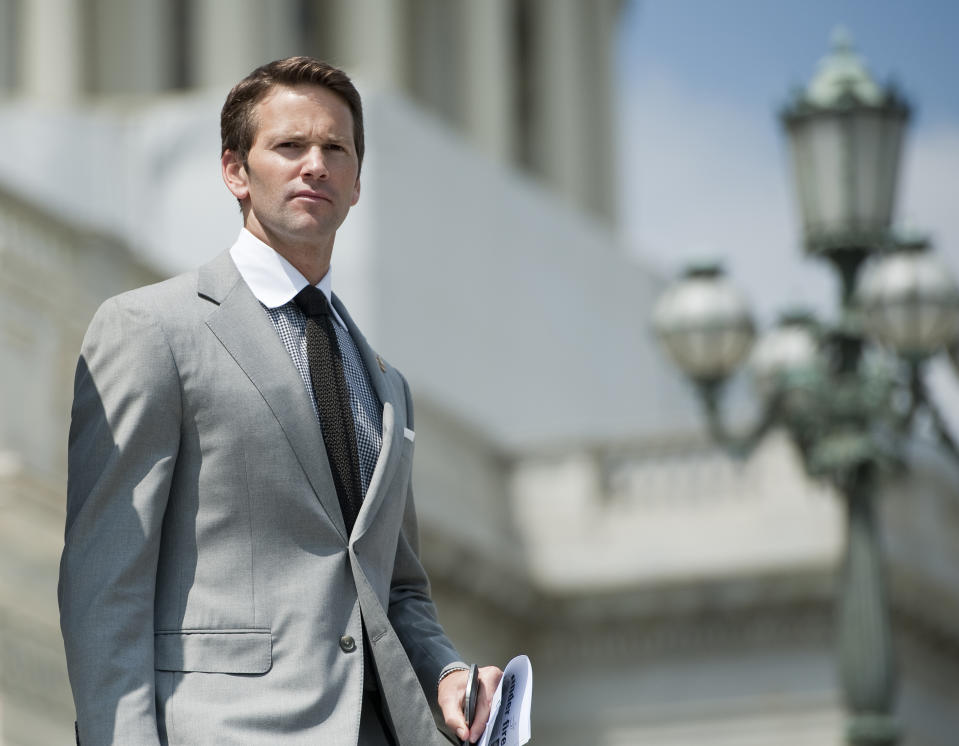 UNITED STATES – APRIL 19: Rep. Aaron Schock, R-Ill., walks down the House steps following a series of votes on Thursday, April 19, 2012. (Photo By Bill Clark/CQ Roll Call)