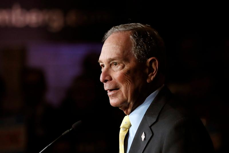Democratic presidential candidate Michael Bloomberg talks to supporters in Detroit on Feb. 4, 2020.