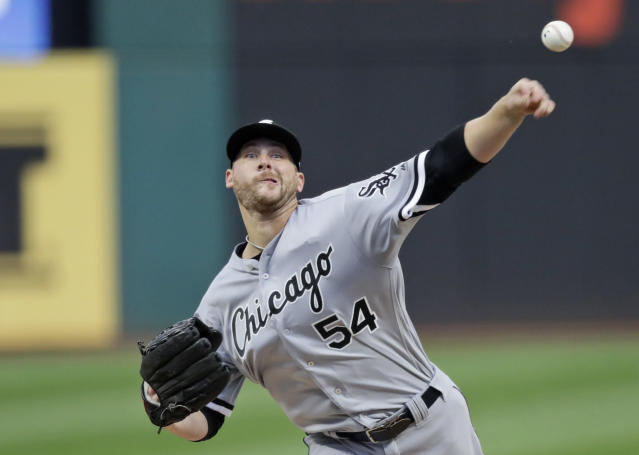 Chicago White Sox starting pitcher Ross Detwiler delivers in the first inning in a baseball game against the Cleveland Indians, Monday, Sept. 2, 2019, in Cleveland. (AP Photo/Tony Dejak)