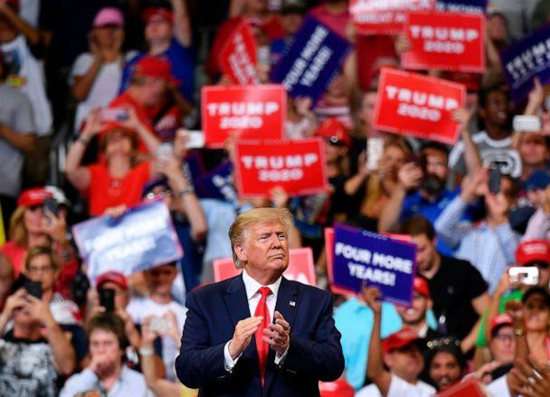 PHOTO: President Donald Trump gestures after a rally at the Amway Center in Orlando, Florida to officially launch his 2020 campaign, June 18, 2019. (Mandel Ngan/AFP/Getty Images)