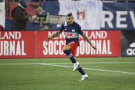 New England Revolution forward Gustavo Bou (7) celebrates his goal during the second half of the team's MLS soccer match against the Montreal Impact, Friday, Nov. 20, 2020, in Foxborough, Mass. The Revolution won 2-1. (AP Photo/Stew Milne)