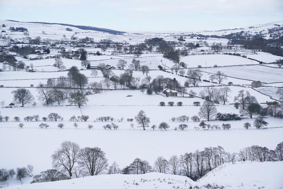 Snow on the hillsides in Teesdale after temperatures plunged to below minus 22C overnight, the lowest in the UK in more than two decades. Picture date: Thursday February 11, 2021.