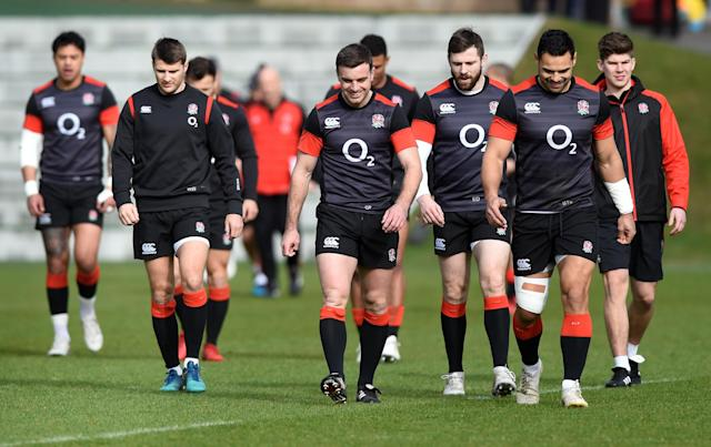 Rugby Union - England Training - Pennyhill Park, Bagshot, Britain - March 14, 2018 England's Richard Wigglesworth, George Ford, Elliot Daly and Ben Te'o during training Action Images via Reuters/Adam Holt