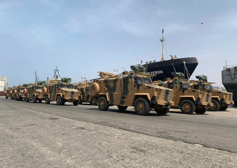 "A photo posted on the Facebook Page of the media bureau of ""Volcano of Anger"" operation on May 18, 2019, reportedly shows Turkish-made armoured personnel vehicles, shipped to Libya's internationally recognised Government of National Accord (GNA), arriving at Tripoli port.GNA forces are currently battling fighters from commander Khalifa Haftar's self-styled Libyan National Army, which launched an offensive on April 4 to take the capital. The GNA said the new weaponry had been supplied ""in preparation for a vast operation to annihilate the rebels of the war criminal, the rebel Haftar."""