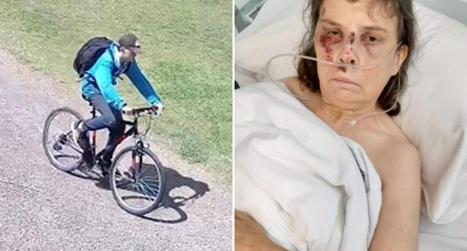 A man is pictured on a bike and a woman is pictured in a hospital bed.