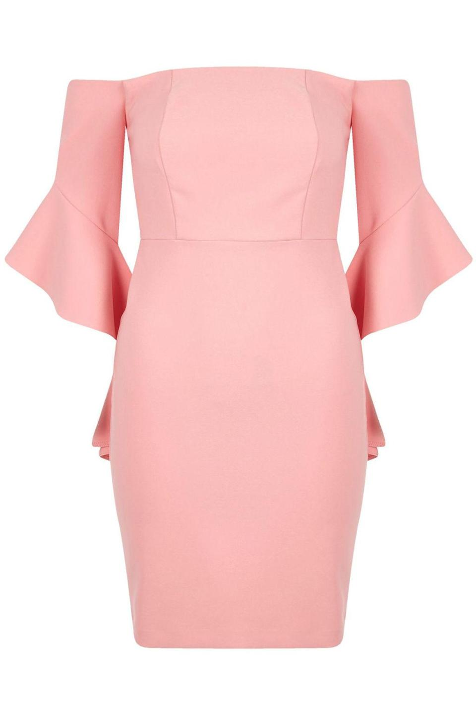 "<p><em>Petit Pink Frill Sleeve Bardot Bodycon Dress, RIVER ISLAND, $100</em></p><p><a href=""https://us.riverisland.com/women/dresses/bardot--bandeau-dresses/petite-pink-frill-sleeve-bardot-bodycon-dress-700891"" rel=""nofollow noopener"" target=""_blank"" data-ylk=""slk:BUY NOW"" class=""link rapid-noclick-resp"">BUY NOW</a></p>"