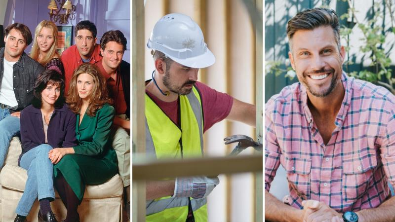 Cast of Friends on the left, a builder hammering at a construction site in the centre, and businessman Sam Wood on the right.