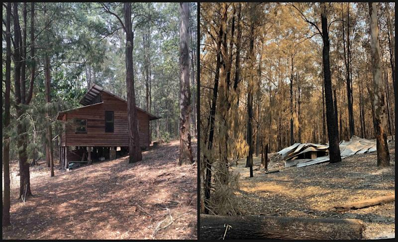Side by side of (left) Russel Crowe's property before bushfire damage, and (right) property after bushfire damage