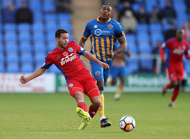 Soccer Football - FA Cup First Round - Shrewsbury Town vs Aldershot Town - New Meadow, Shrewsbury, Britain - November 4, 2017 Aldershot Town's Fabien Robert in action Action Images/John Clifton
