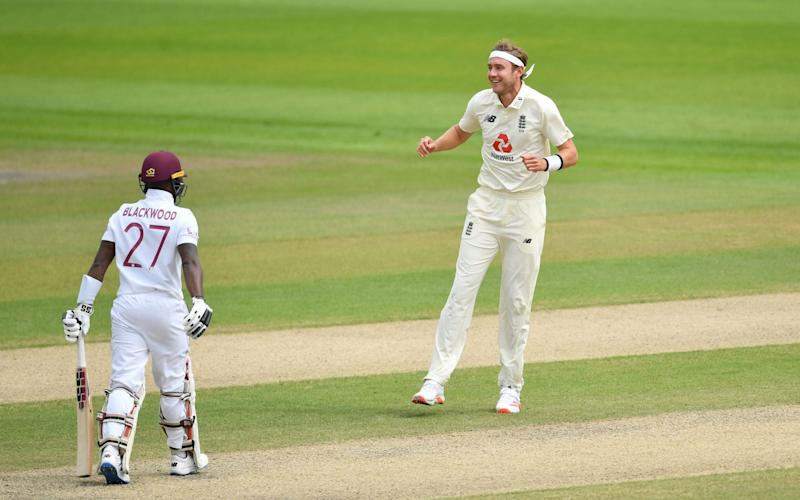 It was fitting that Broad took the wicket of Jermaine Blackwood to seal England's match and series victory - GETTY IMAGES