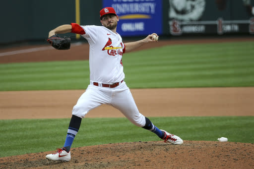 St. Louis Cardinals relief pitcher Austin Gomber (36) delivers during the seventh inning of a baseball game against the Cleveland Indians, Saturday, Aug. 29, 2020, in St. Louis. (AP Photo/Scott Kane)
