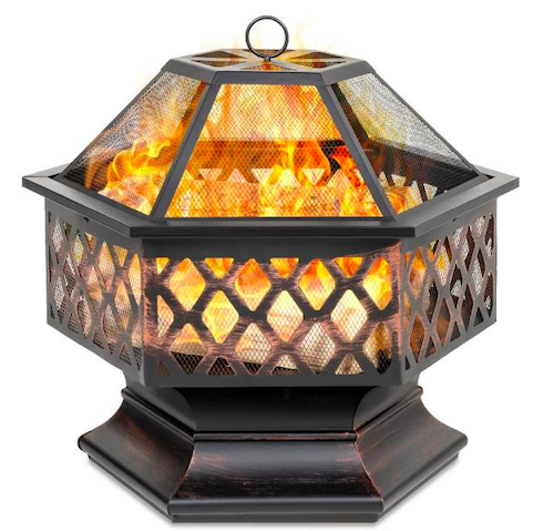 Hexagon Steel Wood Fire Pit with Mesh Lid, best metal fire pit
