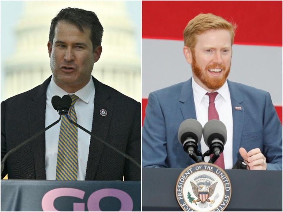 Reps Seth Moulton, left, and Peter Meijer have come under fire for an unannounced trip to Kabul airport. (Getty)