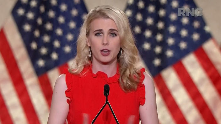 Natalie Harp speaks during the virtual Republican National Convention on August 24, 2020. (via Reuters TV)