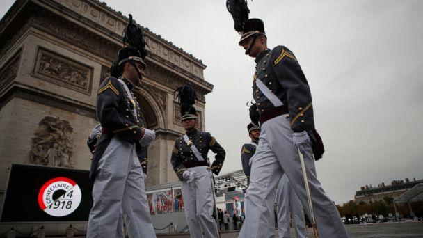 PHOTO: Cadets form the New York military academy wait near the Arc de Triomphe Sunday, Nov. 11, 2018 in Paris. More than 60 heads of state and government are in France for the Armistice ceremonies at the Tomb of the Unknown Soldier in Paris. (AP)