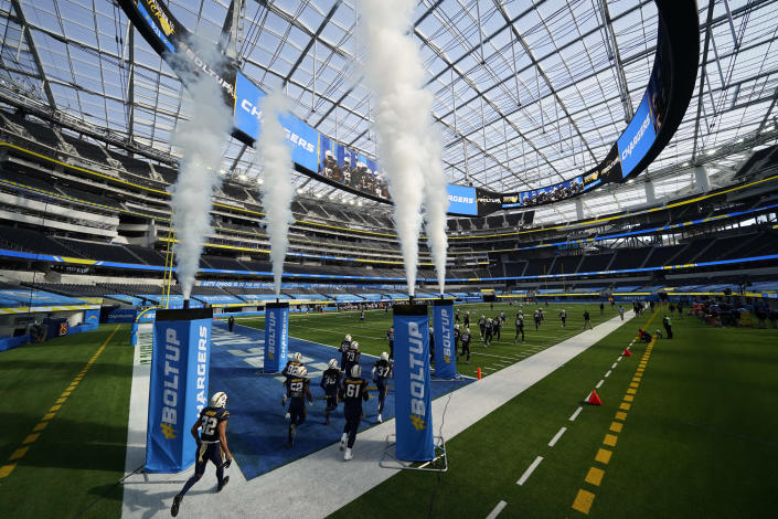 The Los Angeles Chargers take the field before an NFL football game against the Las Vegas Raiders, Sunday, Nov. 8, 2020, in Inglewood, Calif. (AP Photo/Ashley Landis)