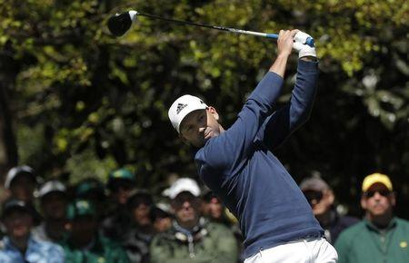 Sergio Garcia of Spain hits off the seventh tee during the 2017 Masters in Augusta
