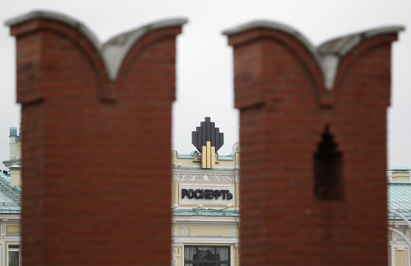 The logo of Russia's top crude producer Rosneft is seen at the company's headquarters, behind the Kremlin wall, in central Moscow