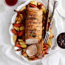 <p>In this easy one-pan dinner, boneless pork loin roast is cooked over a bed of carrots and parsnips for an all-in-one dish that makes an impressive centerpiece for a holiday meal or Sunday dinner. Choose free-range heritage pork if you can--its flavor really shines with no more seasoning than a bit of thyme and a little sea salt. If you'd like, dress up the meal with a traditional Irish apple condiment--Ploughmans chutney or Bramley applesauce, which you can find in specialty stores and online.</p>