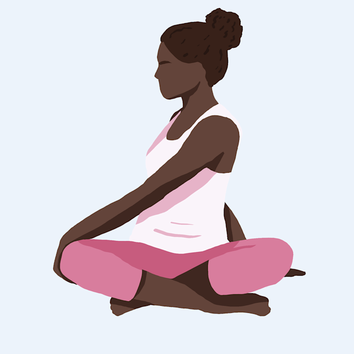 Bed Yoga Poses: seated twist stretch