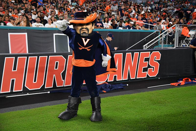 MIAMI, FLORIDA - OCTOBER 11: Virginia Cavaliers mascot in action during the game against the Miami Hurricanes in the half at Hard Rock Stadium on October 11, 2019 in Miami, Florida. (Photo by Mark Brown/Getty Images)