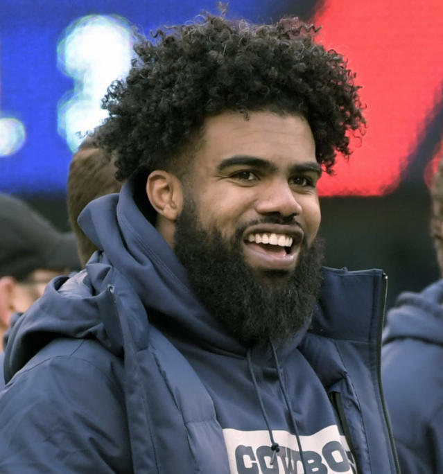 FILE - In this Dec. 30, 2018, file photo, Dallas Cowboys' Ezekiel Elliott smiles on the sideline before an NFL football game against the New York Giants, in East Rutherford, N.J. Elliott was handcuffed by police, but not arrested, after a scuffle involving event staff at a Las Vegas music festival. Police Officer Laura Meltzer said Monday, May 20, 2019 that the 23-year-old running back was detained briefly early Saturday during the Electric Daisy Carnival at the Las Vegas Motor Speedway. (AP Photo/Bill Kostroun, file)