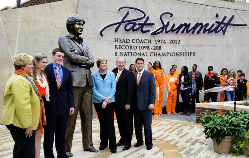 From left to right, former Tennessee women's athletic director Joan Cronan, AnDe and Tyler Summitt, UT women's basketball coach emeritus Pat Summitt, UT Chancellor Jimmy Cheek, and director of athletics Dave Hart pose for photos after the unveiling of a statue in Pat's honor on Friday, Nov. 22, 2013, in Knoxville, Tenn. The statue was revealed at a dedication ceremony for the Pat Summitt Plaza to honor the coach who led Tennessee to eight national titles and 18 Final Four appearances. (AP Photo/Knoxville News Sentinel, Michael Patrick)
