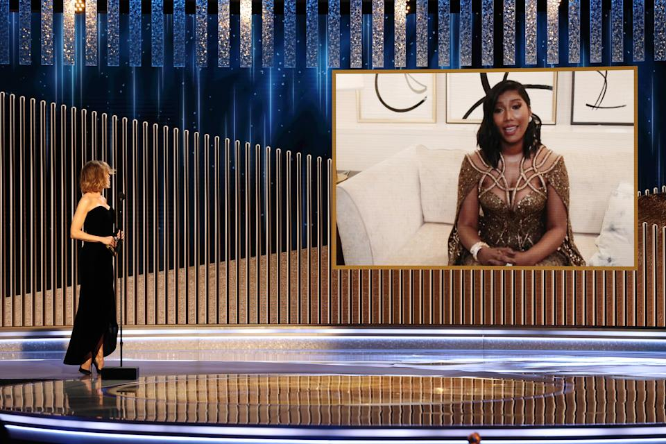 BEVERLY HILLS, CALIFORNIA: 78th Annual GOLDEN GLOBE AWARDS -- Pictured: (l-r) Renée Zellweger listens to Taylor Simone Ledward accept the Best Actor - Motion Picture Drama award for 'Ma Rainey's Black Bottom' via video on behalf of the winner, the late Chadwick Boseman, onstage at the 78th Annual Golden Globe Awards held at The Beverly Hilton and broadcast on February 28, 2021 in Beverly Hills, California. -- (Photo by Christopher Polk/NBC/NBCU Photo Bank via Getty Images)
