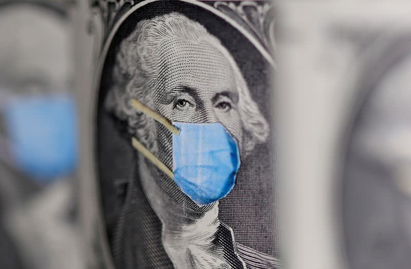 FILE PHOTO: George Washington is seen with printed medical mask on the one Dollar banknote in this illustration taken