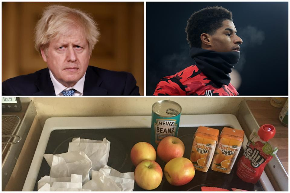 "Boris Johnson has described free school meals offered this week as ""unacceptable"", Marcus Rashford has said. (PA/@MarcusRashford)"