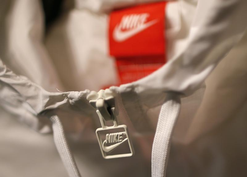 A Nike logo is seen on a jacket in the Nike store in Santa Monica