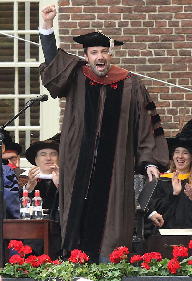 Has Ben Affleck secretly been attending Brown University for the past several years to earn a degree? Nope! But he still managed to land a doctorate (granted, it's an honorary one) from the school in Providence, Rhode Island, not that far from the actor-director's hometown of Boston. Affleck attended Brown's graduation ceremony over the weekend to accept the honor. (5/28/2013)