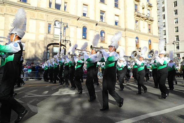 <p>The West Harrison High School Band from Gulfport, Miss., marches during the 91st Macy's Thanksgiving Day Parade in New York, Nov. 23, 2017. (Photo: Gordon Donovan/Yahoo News) </p>