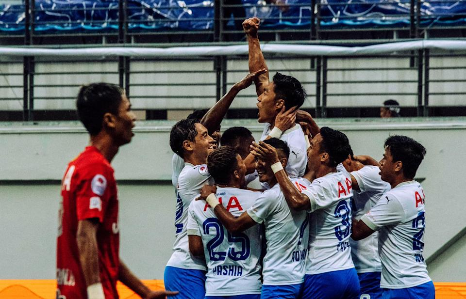 The Lion City Sailors players celebrate Song Ui-yong's opening goal in their 4-1 win over Balestier Khalsa that gave them their first Singapore Premier League title. (PHOTO: Singapore Premier League)