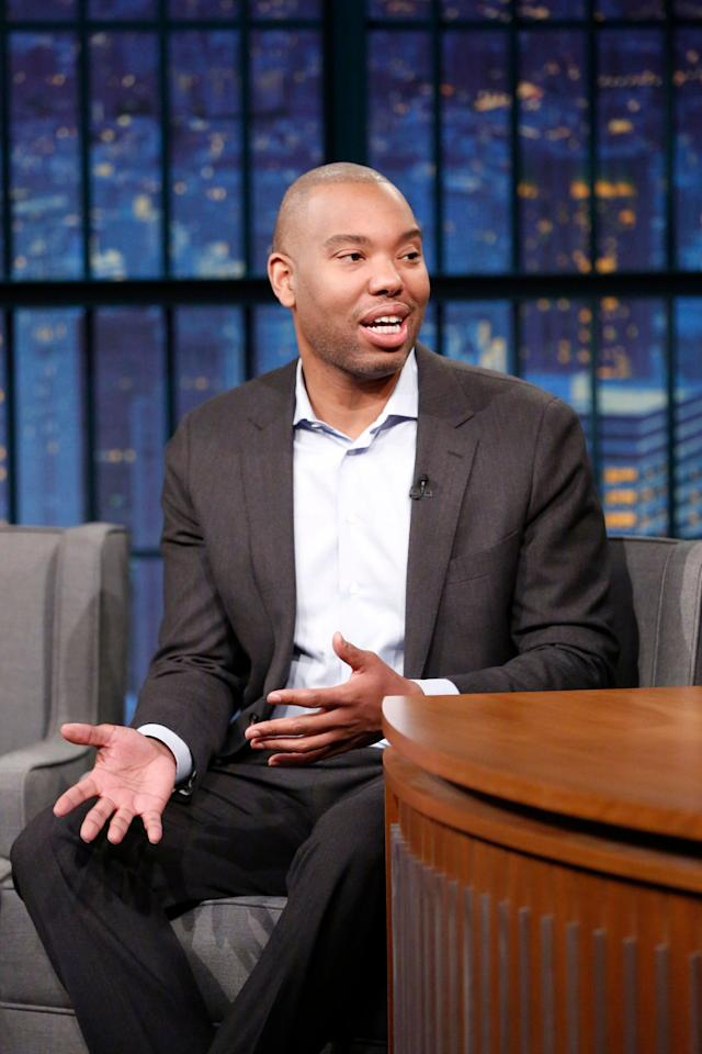 """Journalist Ta-Nehisi Coates during a Jan. 24 interview on """"LateNightwithSethMeyers."""""""
