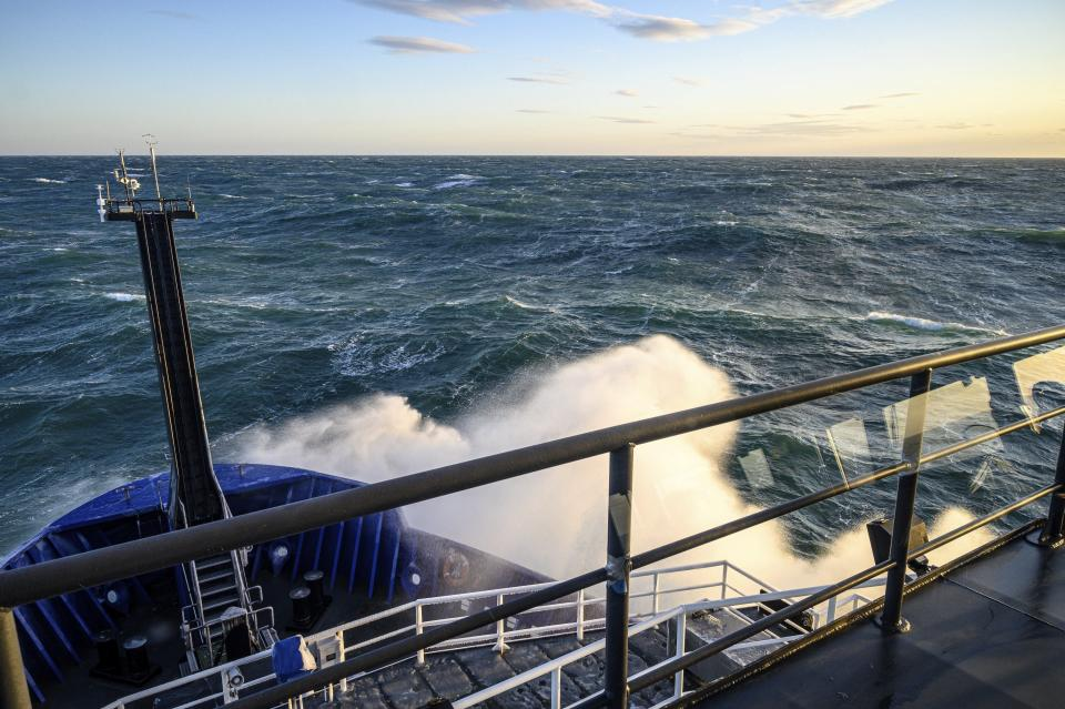 This Nov. 8, 2019 photo provided by John Guillote shows a view from the deck of the Sikuliaq in the Chukchi Sea. University of Washington scientists onboard the research vessel are studying the changes and how less sea ice will affect coastlines, which already are vulnerable to erosion because increased waves delivered by storms. More erosion would increase the chance of winter flooding in villages and danger to hunters in small boats. (John Guillote via AP)