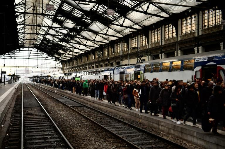 Long lines at the Gare de Lyon railway station in Paris as French train drivers stike against a planned overhaul