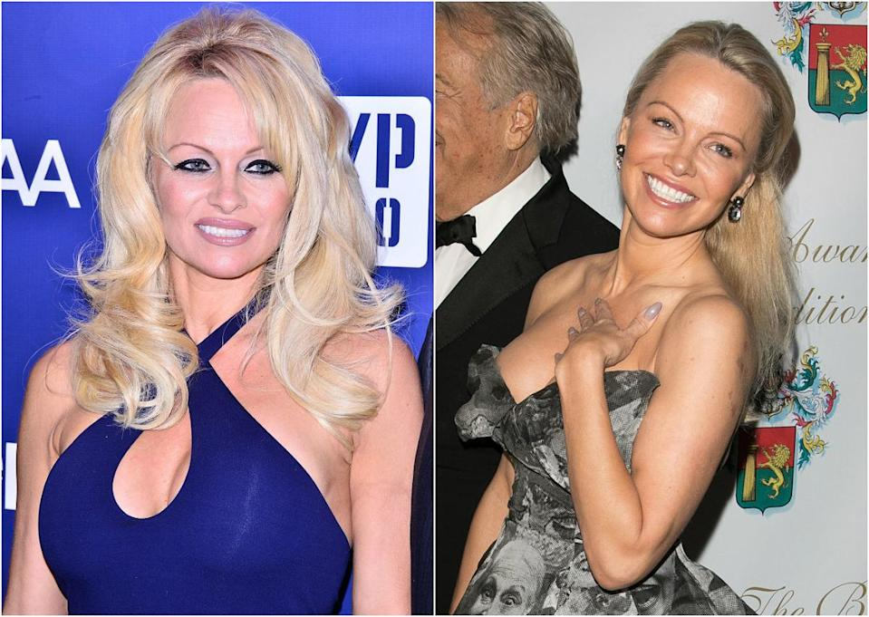 "<p>At 49, Pamela Anderson is a complete knockout. The former ""Baywatch"" babe looked fresh-faced and youthful as she opted for a no-makeup-makeup look at the 40th Best Award Ceremony in Paris. She pulled her iconic blonde locks out of her face and smiled girlishly all night (photo R). A vast difference from the heavy liner and over-plucked brows she used to favour (photo L). Click through the gallery to see more awesome celeb makeunders! <i> (Photos: Getty, 2015/2017) </i> </p>"