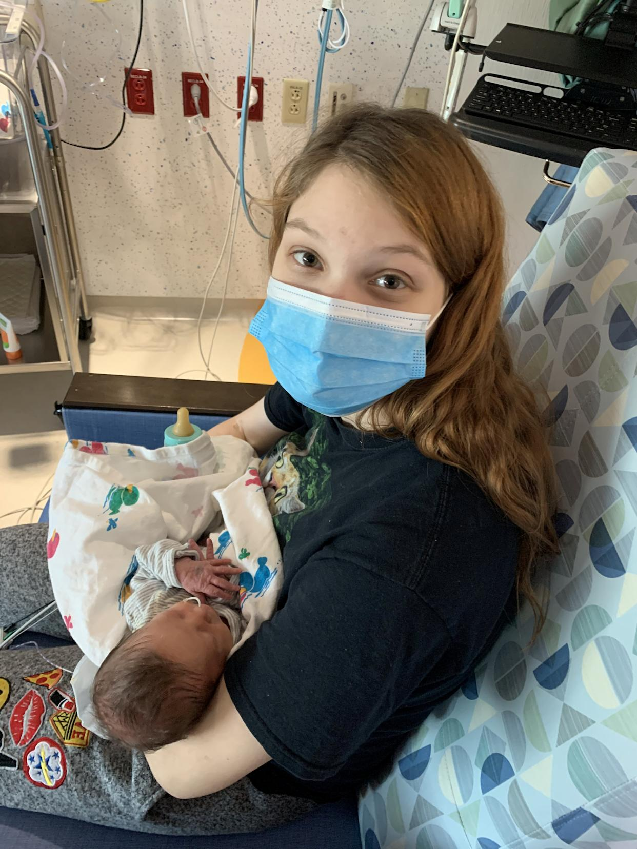 Maggie Rojas in hospital after having given birth to her second set of twins.