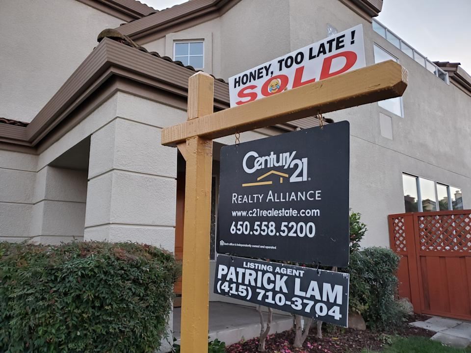 Close-up of realty sign from Century 21 in front of home for sale in the San Francisco Bay Area, San Ramon, California, December 16, 2019. (Photo by Smith Collection/Gado/Getty Images)