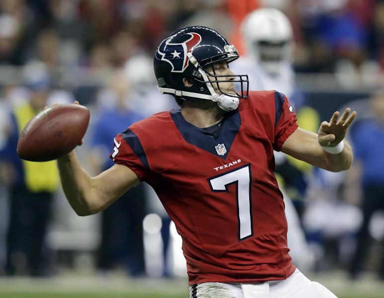 Houston Texans' Case Keenum throws against the Indianapolis Colts during the first quarter of an NFL football game Sunday, Nov. 3, 2013, in Houston. (AP Photo/Patric Schneider)