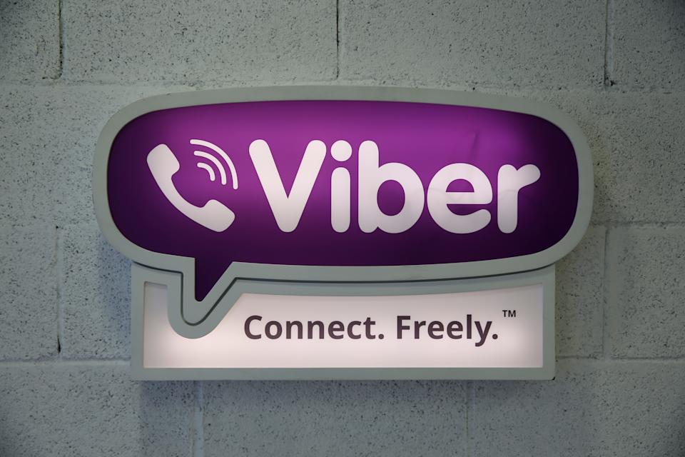 The logo of call and messaging app provider Viber Media Inc, is seen at their offices in Tel Aviv, Israel August 29, 2016. Picture taken August 29, 2016. REUTERS/Baz Ratner