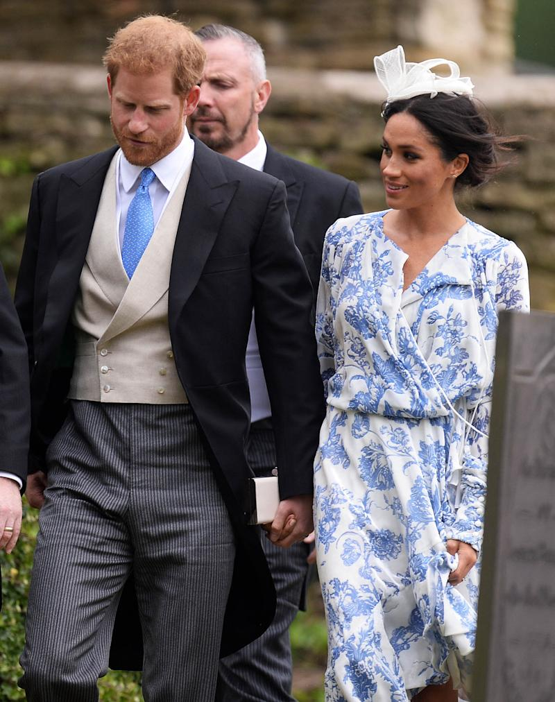 Meghan wore her wedding shoes with an Oscar de la Renta frock