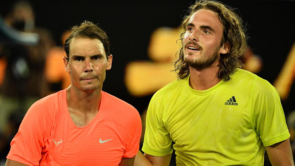Rafael Nadal and Stefanos Tsitsipas, pictured here after their quarter-final match at the Australian Open.