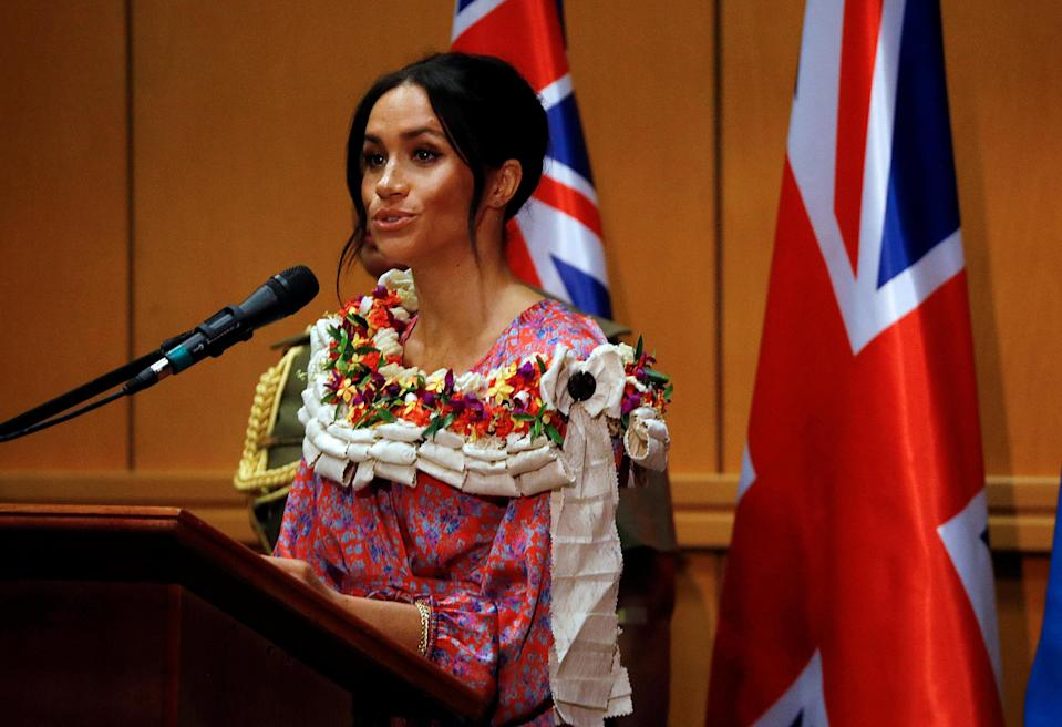 The Duchess of Sussex said a few words about the importance of education at the University of the South Pacific yesterday. Photo: Getty Images