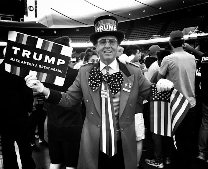 <p>A Trump supporter poses at a campaign rally on May 25 in Anaheim, Calif. (Photo: Holly Bailey/Yahoo News) </p>