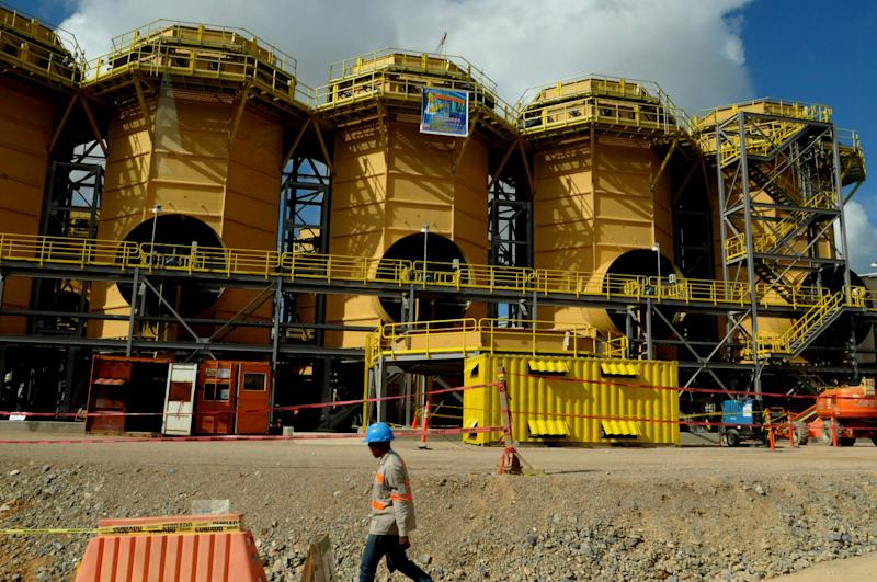 This photo taken March 20, 2012, shows the completed facilities of Pueblo Viejo mine in the Sanchez Ramirez province, about 60 miles (100 kms) northwest of Santo Domingo, Dominican Republic. One of the world's largest gold mining operations, run by a joint venture of Canadian companies Barrick Gold and Goldcorp, is about to open in the Dominican Republic, where the industry has a toxic legacy of pollution that stained rivers a searing red and failed to lift the fortunes of this largely poor country. (AP Photo/Manuel Diaz) DOMINICAN REPUBLIC OUT - NO USAS EN REPUBLICA DOMINICANA