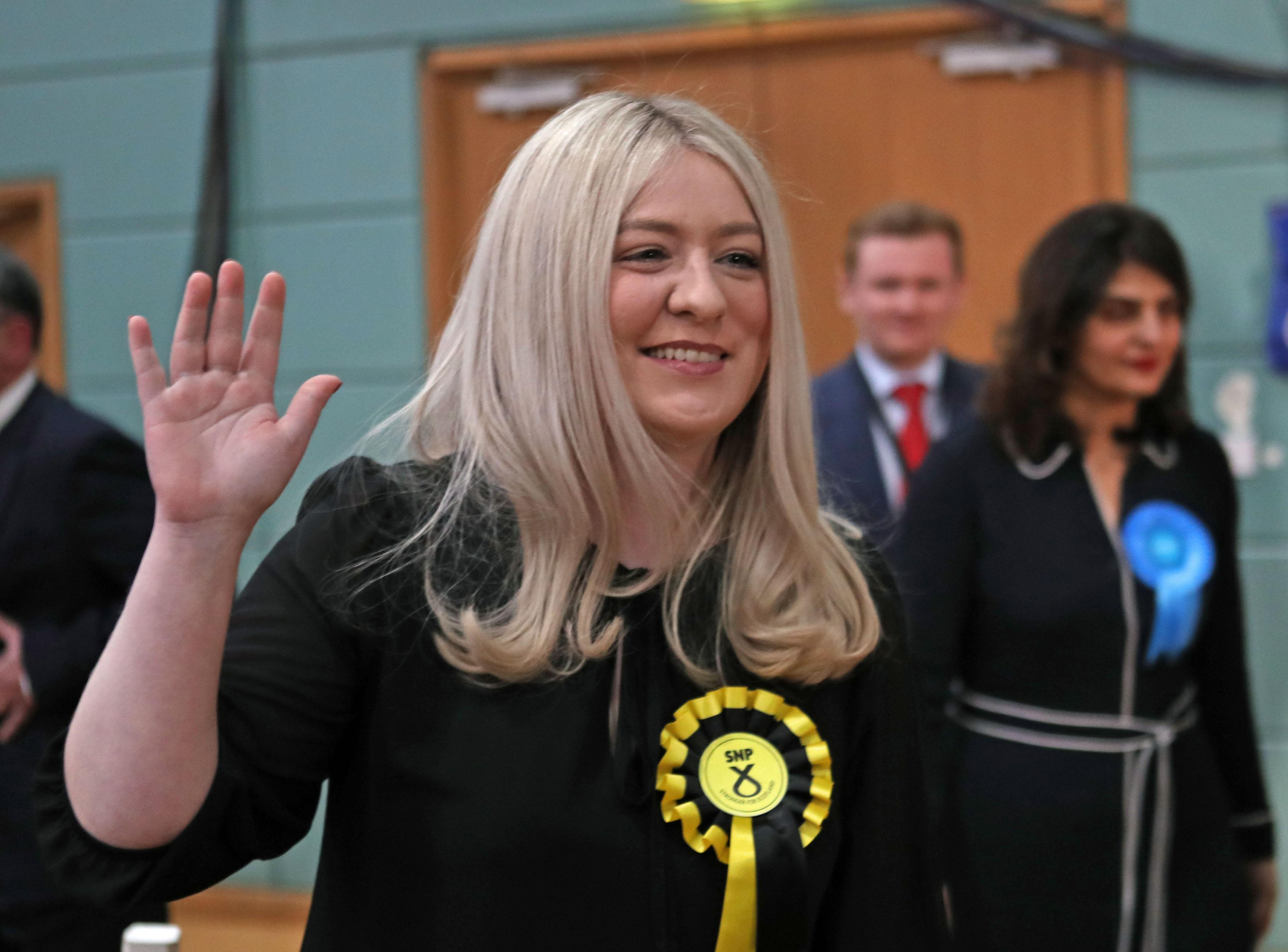 SNP candidate Amy Callaghan reacts at the Leisuredome, Bishopbriggs, after winning the East Dumbartonshire seat from Lib Dem Jo Swinson in the 2019 General Election. (Photo by Jane Barlow/PA Images via Getty Images)