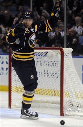 Buffalo Sabres' left winger Thomas Vanek, of Austria, celebrates his goal against the Florida Panthers during the first period of an NHL hockey game in Buffalo, N.Y., Sunday, Feb. 3, 2013. (AP Photo/Gary Wiepert)
