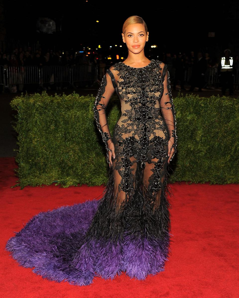 <p>Interesting fact of the day: Beyoncé's 2012 dress was one of the fastest turnarounds in Met Gala history. On the day of the event, the singer called up her stylist and had decided that she fancied going to the red carpet ceremony (as you do).<br>In just one afternoon, her team had tracked down a Givenchy dress that was lined up for another project and the rest is history. <em>[Photo: Getty]</em> </p>
